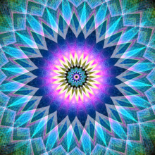 For me most mandalas are viewed starting from the outside, then the lines pull the eye towards the center of the mandala. But 'Center Point' start on the inside for me, with the bright and demanding colors, then the eye travels towards the pointy blue lines onwards to the outside.   This mandala was digitally created using various software programs.
