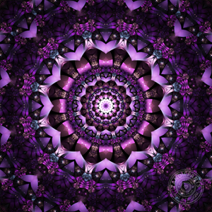 Beautiful purple mandala made from original fractal art. This mandala was digitally created using various software programs.