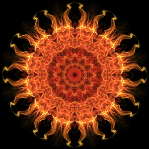 Orange and yellow mandala with flames shooting out from the circle center on a black background. This mandala was digitally created using various software programs.