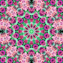 Pink and green mandala inspired by a beautiful flower garden.  This mandala was digitally created using various software programs.