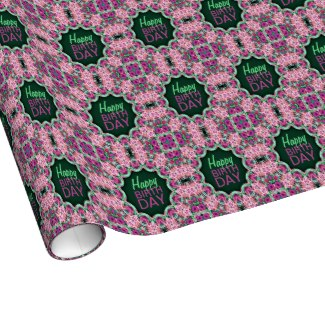 'Flower Garden' is available as wrapping paper with customizable text through Zazzle
