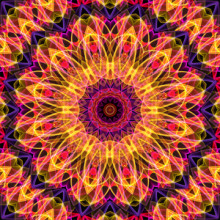 Vibrant mandala in pink, purple, orange and yellow colors  This mandala was digitally created using various software programs.