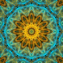 This mandala makes me think of a beautiful sunny yellow sea star floating in a tropical blue and green ocean. There was no doubt that this piece had to be named after that.  This mandala was digitally created using various software programs.