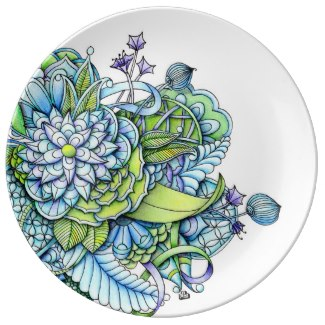 'Peaceful Flower Garden' is available as porcelain plates through Zazzle