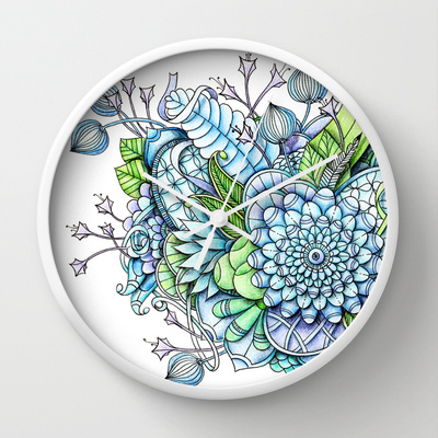 'Peaceful Flower Garden2' is available as a wall clock through Society6
