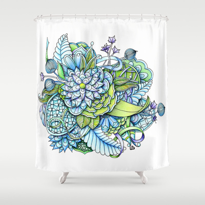 'Peaceful Flower Garden' is available as shower curtain through Society6