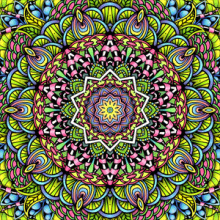 Bright and colorful mandala created from a pencil and ink drawing.