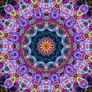 This purple mandala reminds me of soap bubbles being blown in the wind, glossy changing colors where the sunlight hits the bubbles. This mandala was digitally created using various software programs.