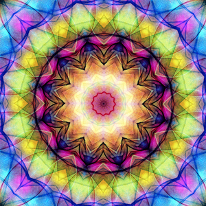 Stunning mandala that seems to glow, as if there is a light behind an old stain glass window This mandala was digitally created using various software programs.