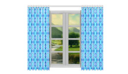 bright blue window curtains
