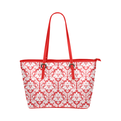 red damask leather tote bag