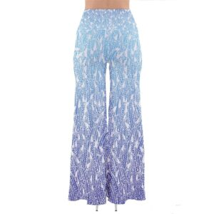 Blue ombre palazzo pants with feather pattern