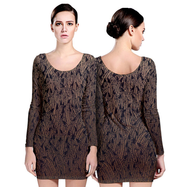 Brown ombre feather pattern long sleeve bodycon dress