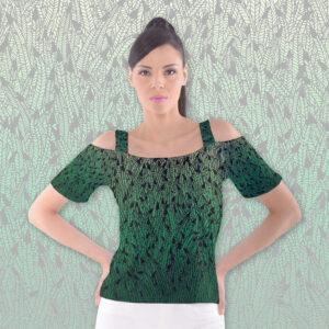 Cutout shoulder tee with green ombre feather pattern