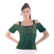 Cutout shoulder tee with green ombre feather pattern, front side