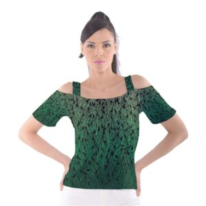 Green ombre women's cutout shoulder tee