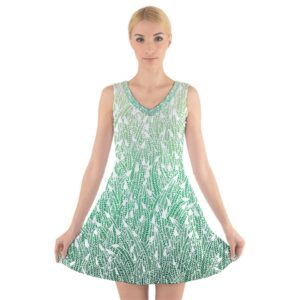 Sleeveless skater dress, green ombre feather pattern