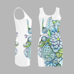 Blue peaceful flower garden, vest dress