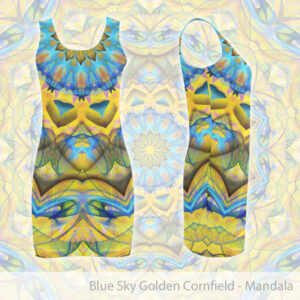 Blue yellow mandala vest dress