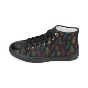 Bright feathers on black high top women's shoes