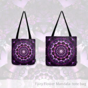 Purple Fairy Flower Mandala Tote bag