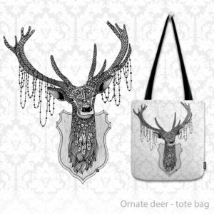 Ornate Deer tote bag with abstract patterns