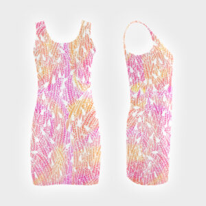 Pink yellow feather pattern vestdress