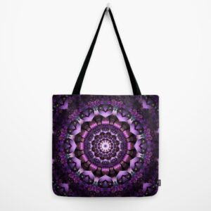 "Purple Fairy Flower mandala tote bag 18""x18"""