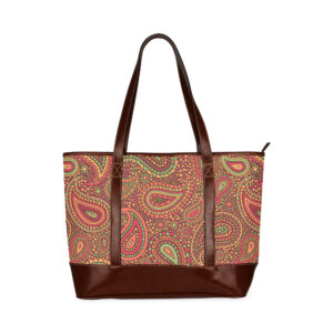 Red sunset mosaic paisley, tote bag