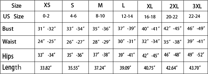 sundress size chart