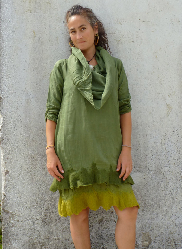 Green tunic, Hand felted, Smock dress by Elfnfelt via Etsy