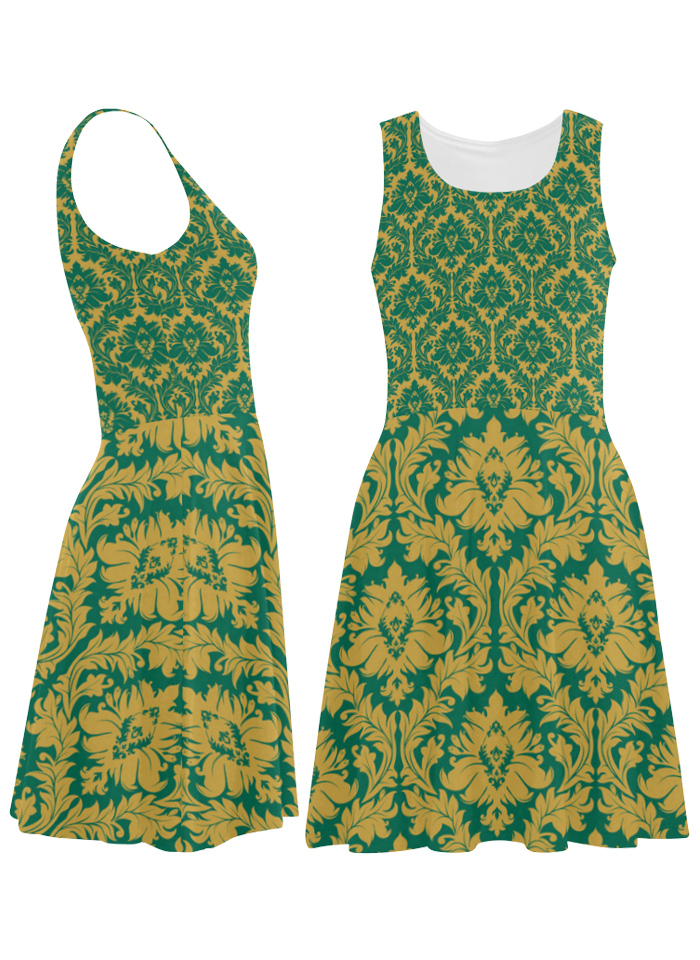 Lush green and mustard yellow sundress by Zandiepants via Artsadd