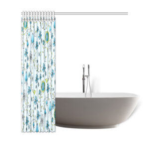 "Blue flowers shower curtain 69""x72"""