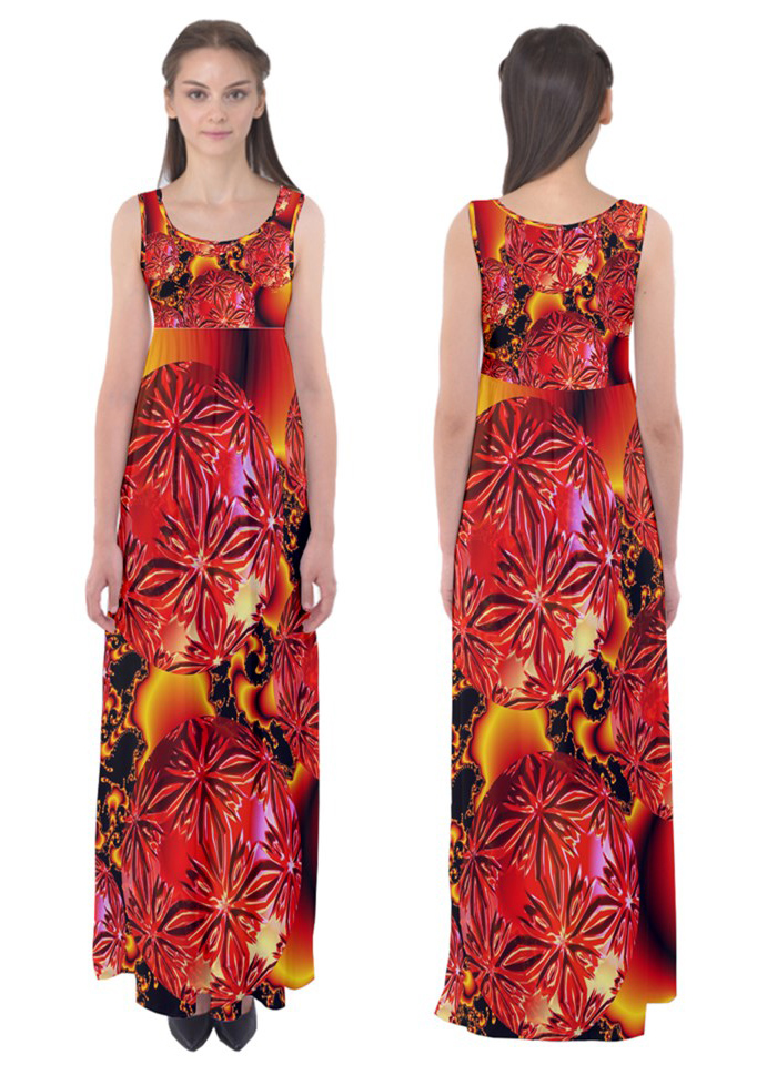 Empire waist Maxi dress, flame delights via dianeclancygiftshop