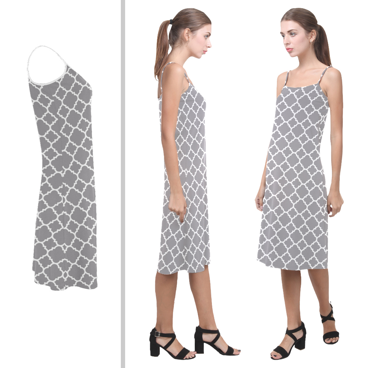 grey quatrefoil slipdress
