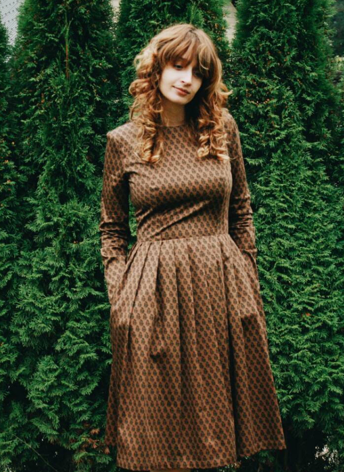 Chocolate Brown long sleeved Floral midi Dress by OFFON via Etsy