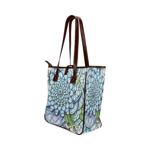 peaceful flower garden totebag back and side view