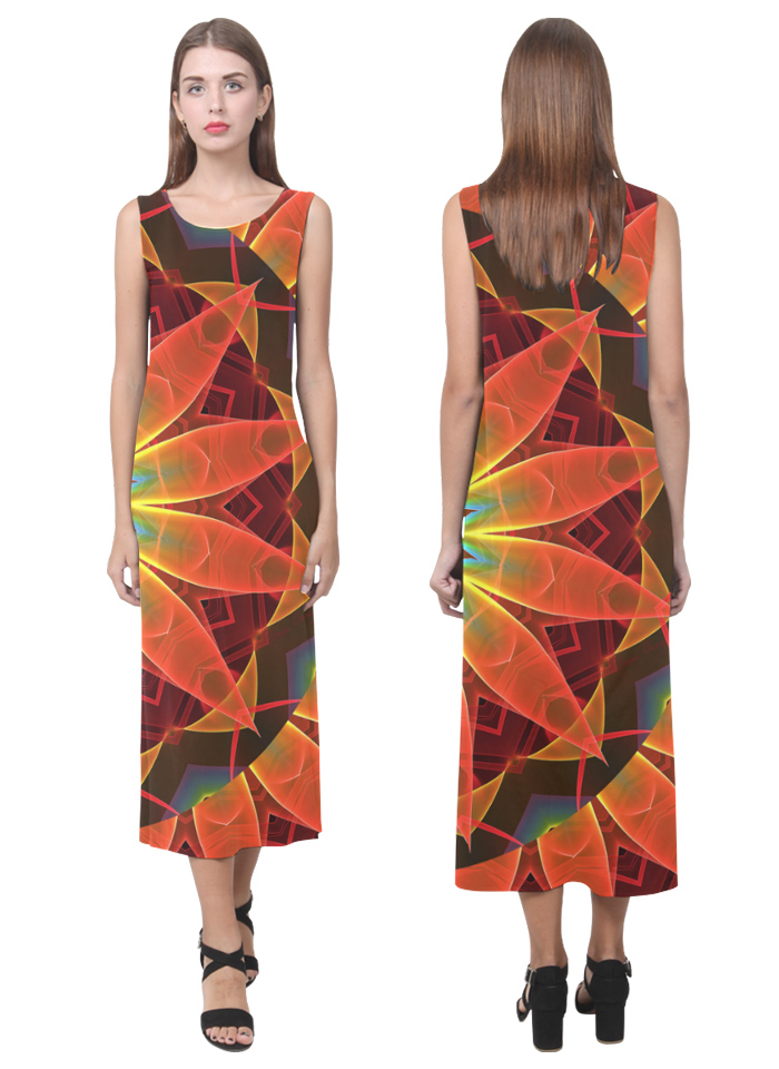 Radiance and light, orange brown awakening sleeveless long dress by DianeClancy via Artsadd