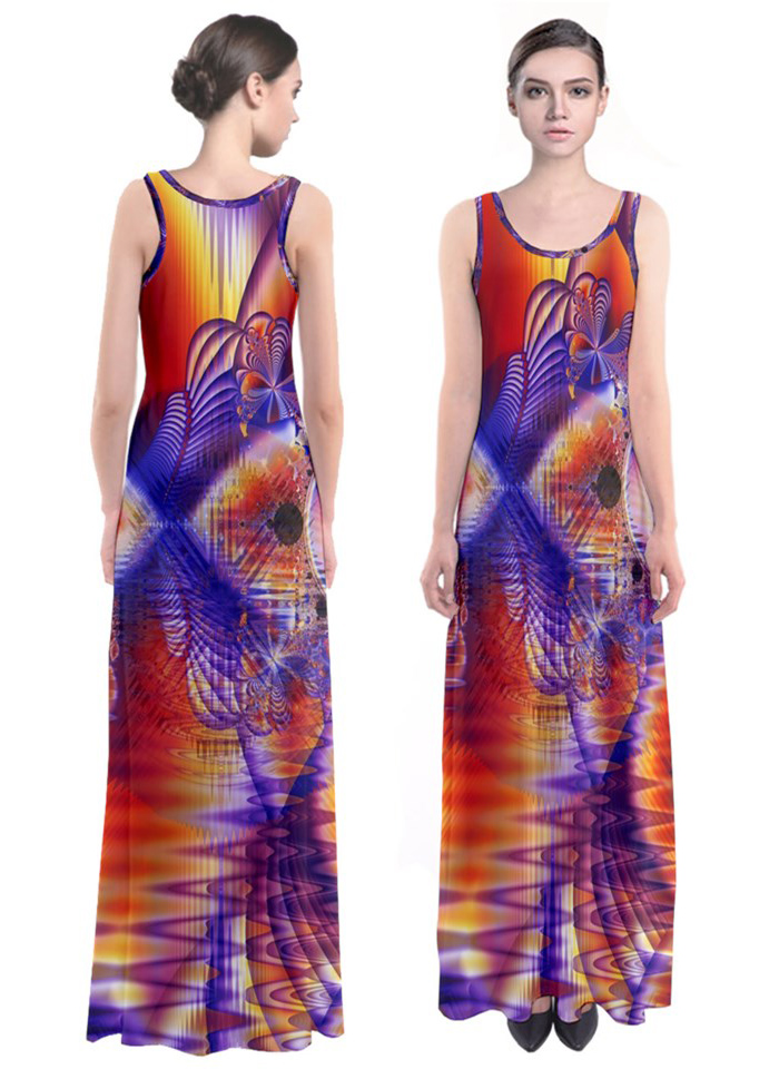 Winter crystal palace abstract cosmic dream lake Maxi dress via DianeClancyGiftShop