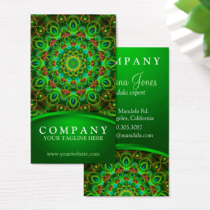 Green Peacock Feathers Mandala - business card