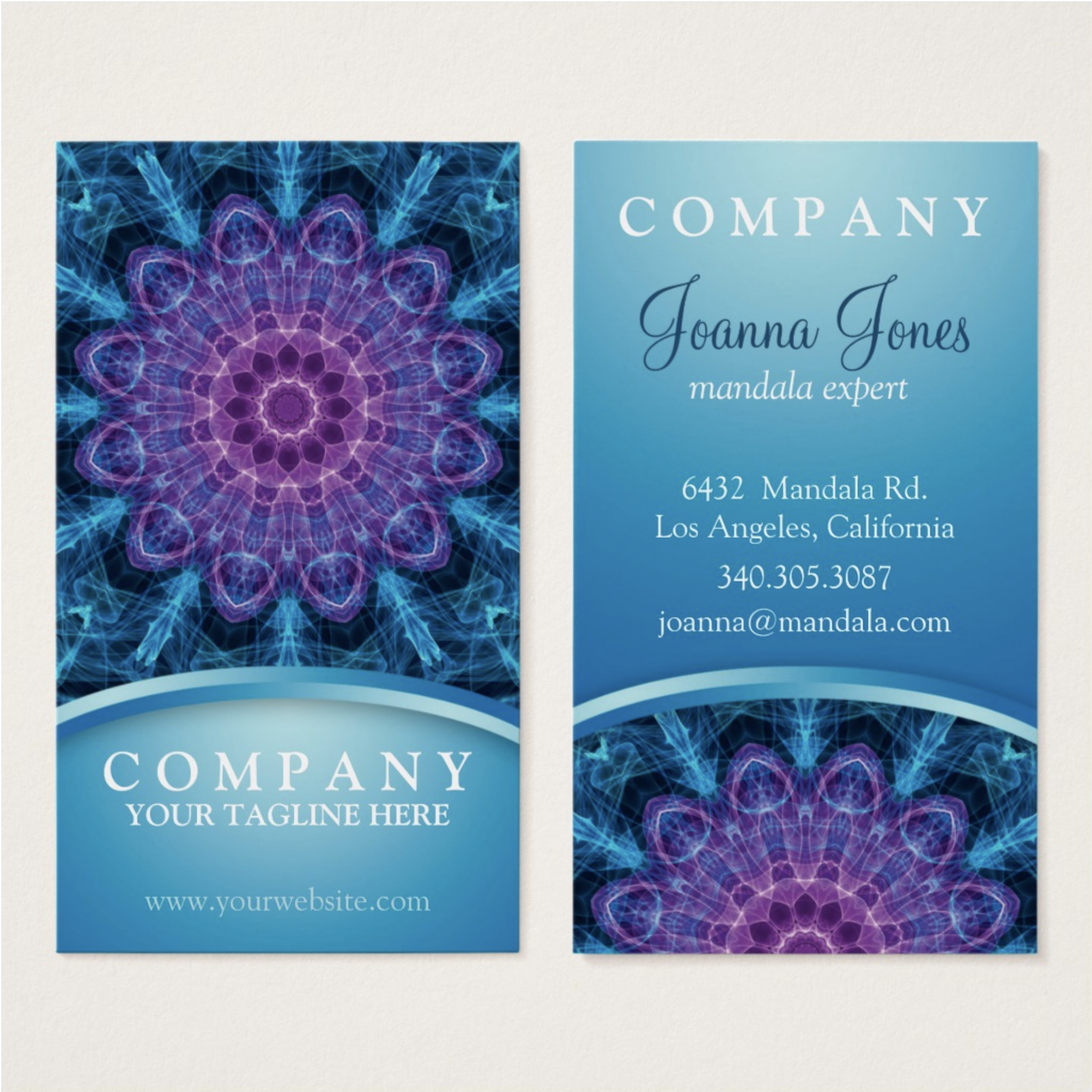 Spiritual Flower Mandala – Blue Business Cards – Zandiepants